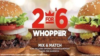 Burger King 2 for $6 Whopper Deal