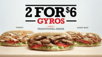 Arby's 2 for $6 Gyro Deal