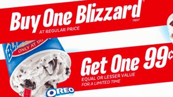 Dairy Queen B1G1 Blizzard for $0.99