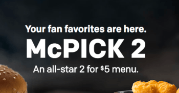 McDonald's McPick 2 for $5 Menu Deal