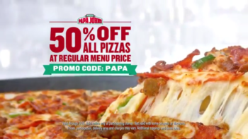Papa John's 50% Off Any Pizza Deal