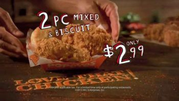 Popeyes 2 Piece Mixed Chicken + Biscuit for $2.99
