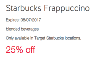 Starbucks 25% Off Frappuccinos at Target